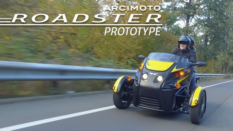 Arcimoto Roadster prototype driving on the road