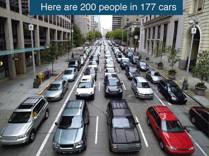Here are 200 people in 177 cars